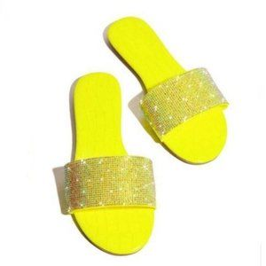 Embellished Snake Embossed Slides in Neon Yellow